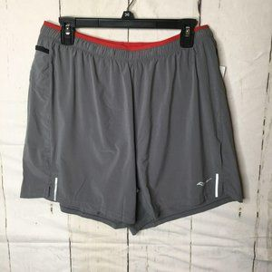 """Saucony Mens 5"""" Outpace Shorts Gray L NWT"""